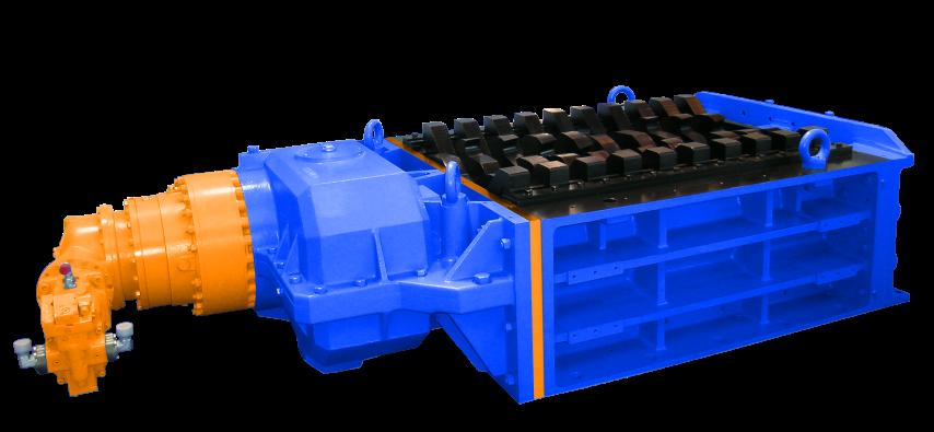 2 shaft industrial shredder 2R 100-150 HP series single hydraulic drive   SatrindTech Srl