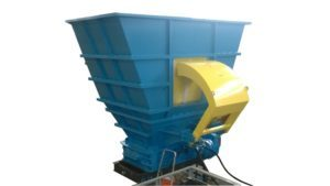 2 shaft industrial shredder K 50 HP series hydraulic drive with hopper with RAM | SatrindTech Srl