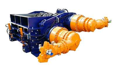 Custom 3 shafts industrial shredder 3R 200 HP hydraulic drive for the waste to energy